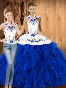 Blue And White Three Pieces Halter Top Sleeveless Satin and Organza Floor Length Lace Up Embroidery and Ruffles Quince Ball Gowns