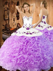 Latest Ball Gowns Quinceanera Gown Lilac Halter Top Fabric With Rolling Flowers Sleeveless Floor Length Lace Up