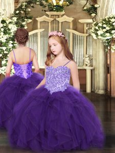 Wonderful Purple Sleeveless Appliques and Ruffles Floor Length Little Girls Pageant Dress Wholesale