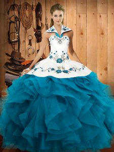 Latest Ball Gowns Quinceanera Gown Teal Halter Top Tulle Sleeveless Floor Length Lace Up