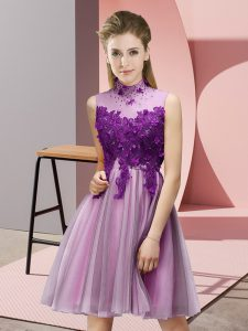 Stunning Lilac Empire High-neck Sleeveless Tulle Knee Length Lace Up Appliques Quinceanera Dama Dress