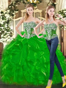 Green Sleeveless Organza Lace Up Vestidos de Quinceanera for Military Ball and Sweet 16 and Quinceanera