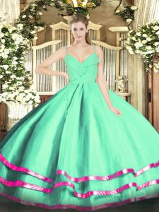 Noble Apple Green Organza Zipper Spaghetti Straps Sleeveless Floor Length Sweet 16 Quinceanera Dress Ruffled Layers