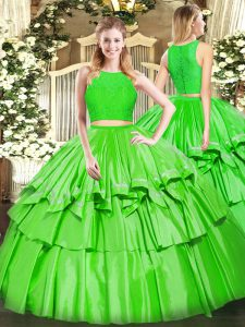 Elegant Green Sleeveless Floor Length Ruffled Layers Zipper Ball Gown Prom Dress