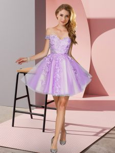 Tulle Off The Shoulder Sleeveless Zipper Appliques Quinceanera Dama Dress in Lavender