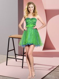 Luxurious Beading and Sequins Quinceanera Dama Dress Multi-color Lace Up Sleeveless Mini Length