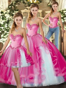 Fuchsia Sweetheart Lace Up Ruffles Quinceanera Dresses Sleeveless