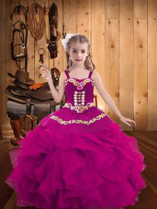 Dazzling Floor Length Fuchsia Girls Pageant Dresses Straps Sleeveless Lace Up