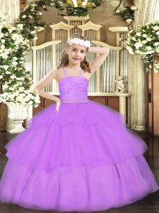Sleeveless Floor Length Beading and Lace Zipper Pageant Dress for Womens with Lavender