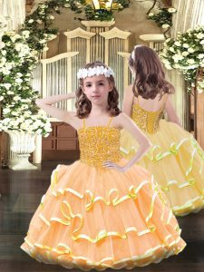 Elegant Sleeveless Organza Floor Length Lace Up Little Girl Pageant Gowns in Orange with Beading and Ruffled Layers