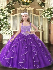 Purple Ball Gowns Beading and Ruffles Pageant Gowns For Girls Lace Up Tulle Sleeveless Floor Length