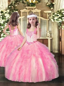 Elegant Rose Pink Ball Gowns Beading and Ruffles Kids Formal Wear Lace Up Organza Sleeveless Floor Length
