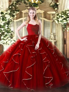 Clearance Floor Length Wine Red Quinceanera Dress Organza Sleeveless Ruffles