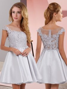New Arrival Mini Length Silver Dama Dress for Quinceanera Scoop Sleeveless Zipper