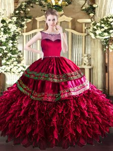 Modern Floor Length Zipper 15 Quinceanera Dress Coral Red for Sweet 16 and Quinceanera with Beading and Ruffles