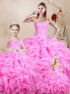Edgy Rose Pink Sweetheart Lace Up Beading and Ruffles Sweet 16 Quinceanera Dress Sleeveless