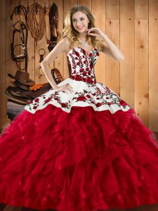 Satin and Organza Sleeveless Floor Length Quinceanera Dresses and Embroidery and Ruffles