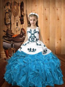 Blue Lace Up Straps Embroidery and Ruffles High School Pageant Dress Organza Sleeveless
