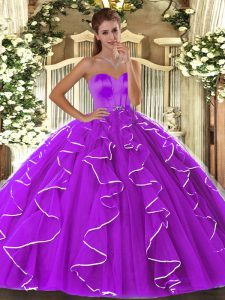 Vintage Floor Length Lace Up Ball Gown Prom Dress Eggplant Purple for Military Ball and Sweet 16 and Quinceanera with Beading and Ruffles