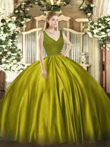 Olive Green Ball Gowns Satin V-neck Sleeveless Beading and Lace Floor Length Backless Quince Ball Gowns