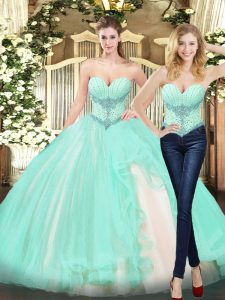 Elegant Floor Length Two Pieces Sleeveless Apple Green Quinceanera Gown Lace Up