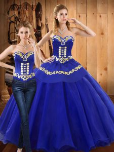 Sleeveless Tulle Floor Length Lace Up Ball Gown Prom Dress in Blue with Embroidery