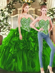 Sleeveless Floor Length Beading and Ruffles Lace Up Quinceanera Dress with Dark Green