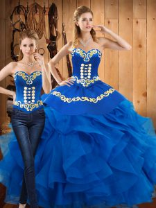 Blue Ball Gowns Sweetheart Sleeveless Satin and Organza Floor Length Lace Up Embroidery and Ruffles 15 Quinceanera Dress