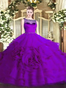 Stylish Eggplant Purple Scoop Neckline Beading and Ruffled Layers Ball Gown Prom Dress Sleeveless Zipper