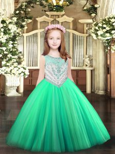 Great Sleeveless Zipper Floor Length Beading Little Girls Pageant Dress Wholesale