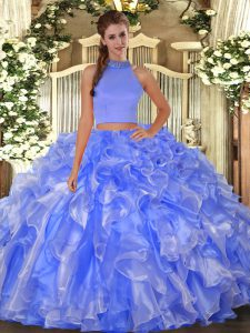 Exquisite Blue Two Pieces Beading and Ruffles Quinceanera Dress Backless Organza Sleeveless Floor Length