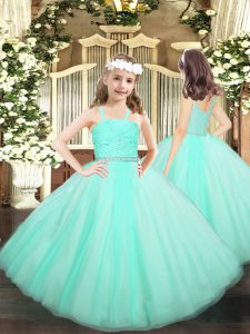 Apple Green Zipper Kids Pageant Dress Beading and Lace Sleeveless Floor Length