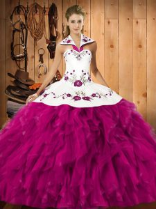 Attractive Satin and Organza Sleeveless Floor Length Quinceanera Gowns and Embroidery and Ruffles