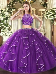 Ideal Tulle High-neck Sleeveless Zipper Beading and Ruffles Vestidos de Quinceanera in Purple