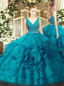 Vintage Teal Ball Gowns Beading Quinceanera Dresses Zipper Fabric With Rolling Flowers Sleeveless Floor Length