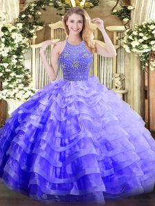 Elegant Lavender Ball Gowns Halter Top Sleeveless Organza Floor Length Zipper Beading and Ruffled Layers Ball Gown Prom Dress