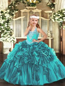 Organza V-neck Sleeveless Lace Up Beading and Ruffles Little Girls Pageant Dress Wholesale in Teal