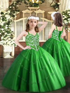 Green Sleeveless Floor Length Beading and Appliques Lace Up Pageant Gowns