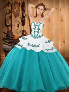 Lovely Teal Strapless Neckline Embroidery Vestidos de Quinceanera Sleeveless Lace Up