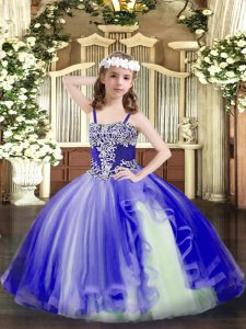 Luxurious Floor Length Ball Gowns Sleeveless Royal Blue Little Girl Pageant Dress Lace Up