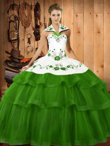 Graceful Halter Top Sleeveless Sweep Train Lace Up Quinceanera Gown Green Organza