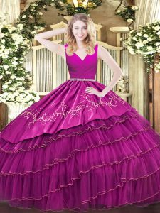 Fuchsia Satin and Organza Zipper Quinceanera Dresses Sleeveless Floor Length Embroidery and Ruffled Layers