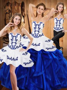 Best Selling Blue Sleeveless Satin and Organza Lace Up Sweet 16 Dresses for Military Ball and Sweet 16 and Quinceanera