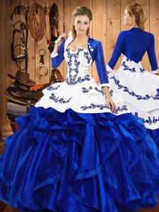 High End Embroidery and Ruffles 15th Birthday Dress Blue Lace Up Sleeveless Floor Length