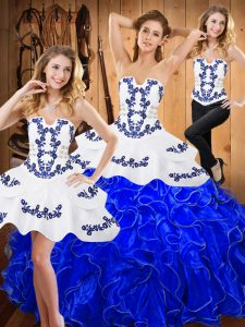 New Arrival Ball Gowns Quinceanera Dress Blue And White Strapless Satin and Organza Sleeveless Floor Length Lace Up