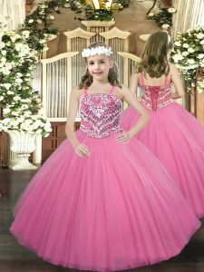 Stunning Floor Length Rose Pink Winning Pageant Gowns Tulle Sleeveless Beading