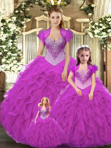 Straps Sleeveless Lace Up Vestidos de Quinceanera Fuchsia Tulle