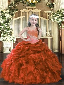 Custom Designed Ball Gowns Little Girls Pageant Gowns Rust Red Straps Organza Sleeveless Floor Length Lace Up