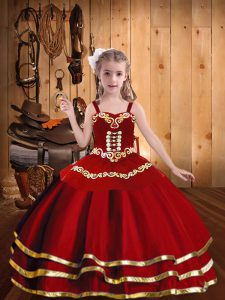 Trendy Red Ball Gowns Organza Straps Sleeveless Embroidery and Ruffled Layers Floor Length Lace Up Winning Pageant Gowns