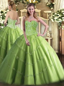 Sweetheart Sleeveless Lace Up Quinceanera Gown Olive Green Tulle